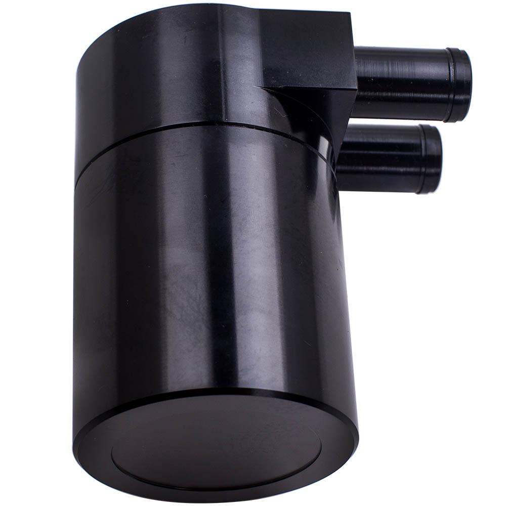 Baffled Oil Catch Can Reservoir Tank Black Aluminum Fits