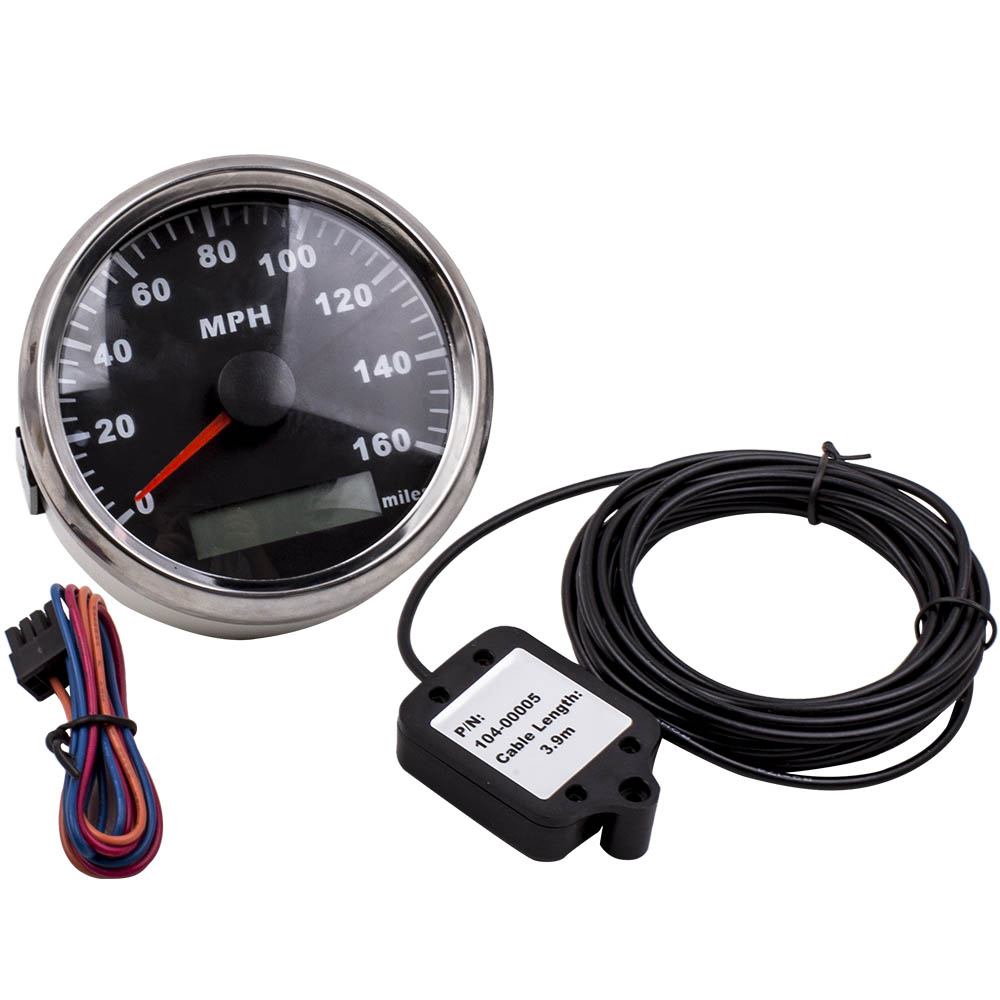 GPS Speedometer 120MPH Odometer Gauge Stainless For Car Truck Boat Red LED 85mm